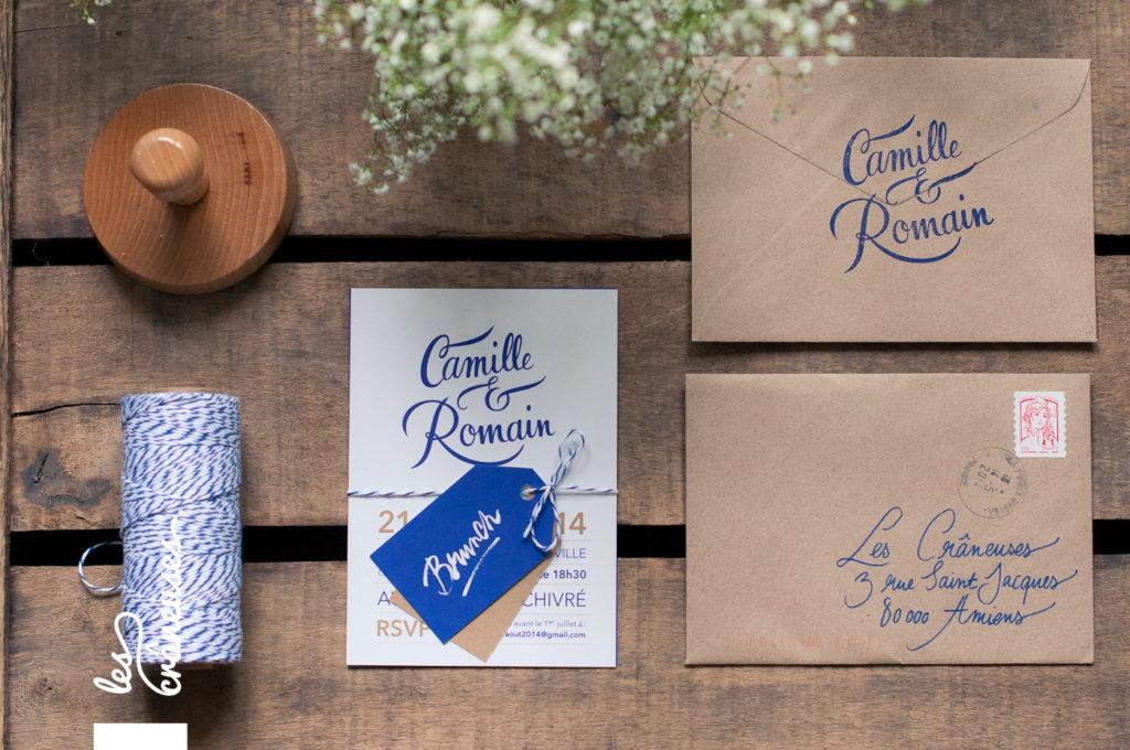 Faire-part mariage, bleu marine, doré, calligraphie, kraft, coupons, Les crâneuses - Création sur mesure