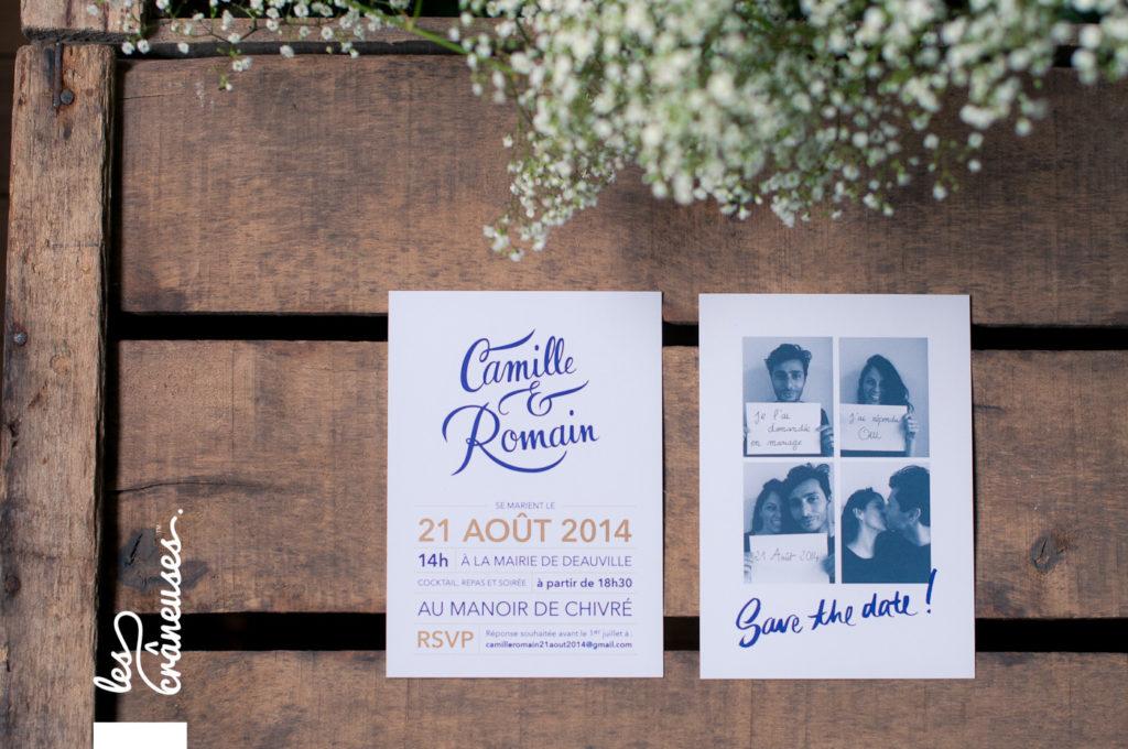 Faire-part mariage, bleu marine, doré, calligraphie, Les crâneuses