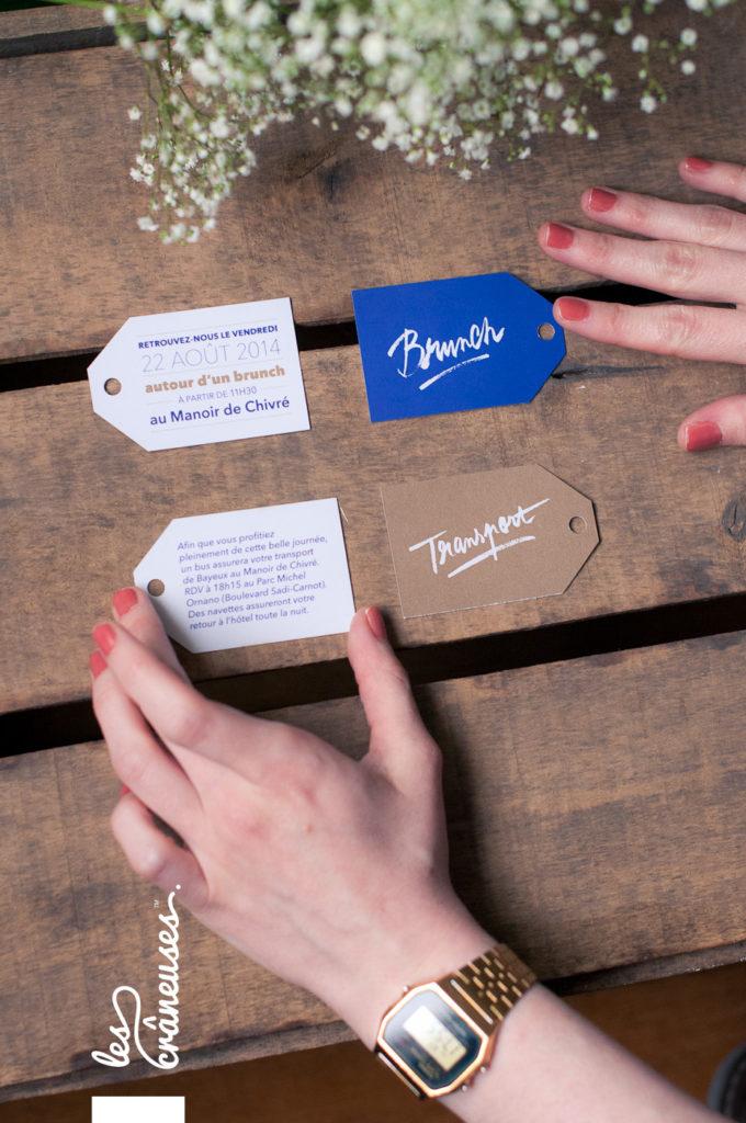 Faire-part mariage, bleu marine, doré, calligraphie, coupons, création personnalisée - Les crâneuses