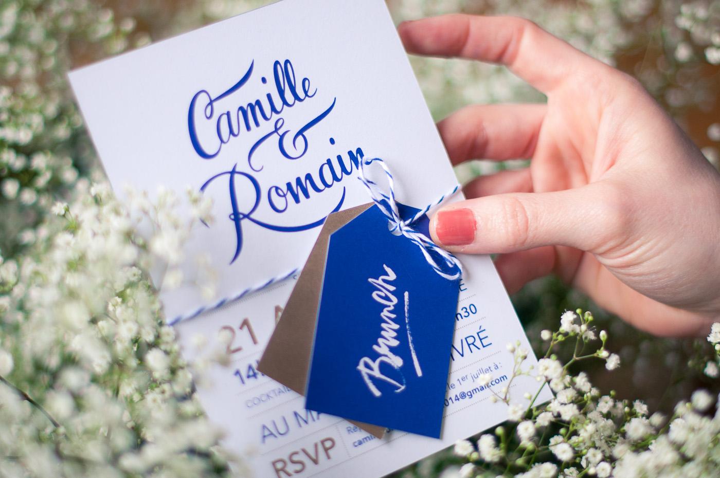 Faire-part mariage, bleu marine, doré, calligraphie, kraft, coupons. Faire part sur mesure. Papeterie personnalisée. Les crâneuses
