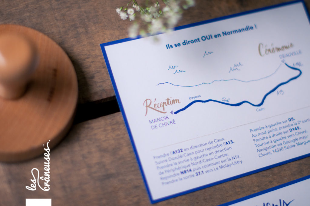 Faire-part mariage, bleu marine, plan invitation mariage - Les crâneuses - faire-part sur mesure