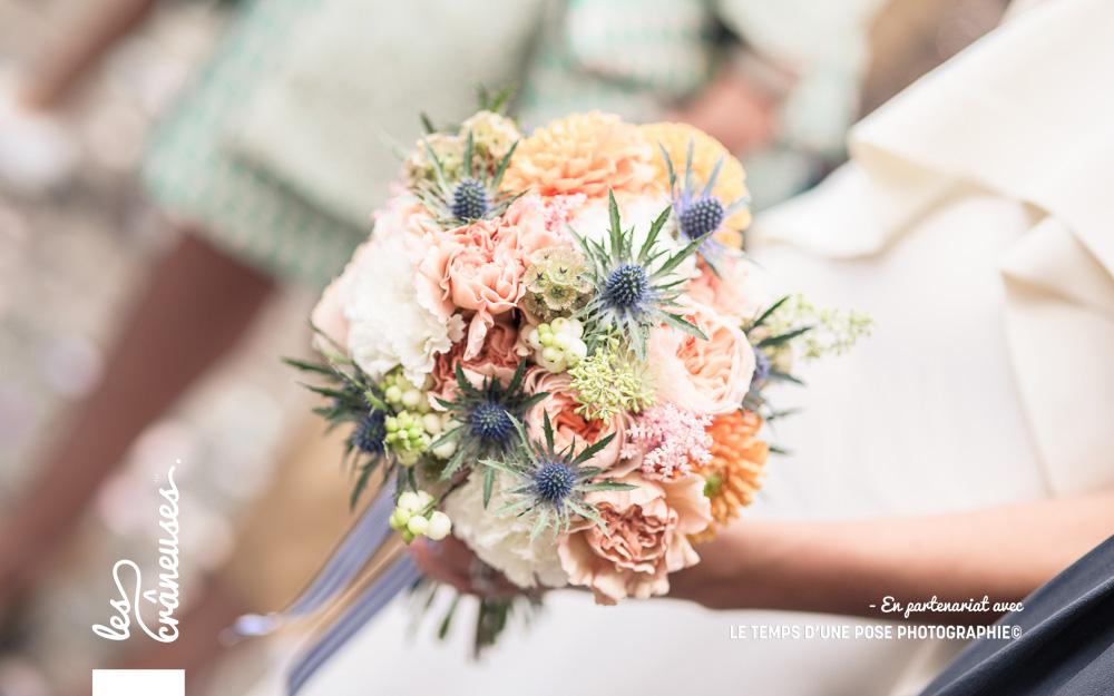 Bouquet mariée champêtre - Bouquet mariée chic - Mariage pastel - Mariage bleu - Normandie - Mariage deauville - Les crâneuses