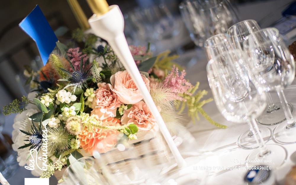 Décoration champêtre - Table mariage - Manoir de Chivré - Mariage Normandie - Les crâneuses