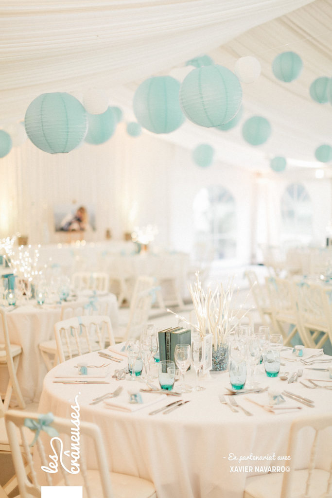 Décoration tente mariage - décoration bleu tiffany - Les crâneuses - Wedding planner - Loiret