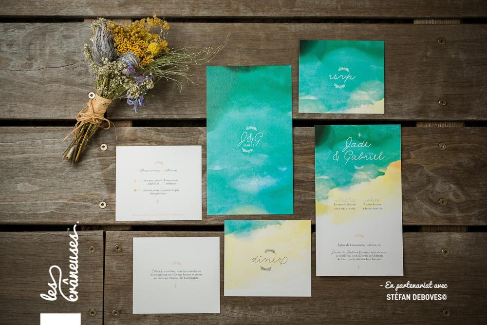 Faire part coloré - Aquarelle - Faire part épuré - Faire part moderne - Création sur mesure - Papeterie mariage - Les crâneuses - Provence - Plage