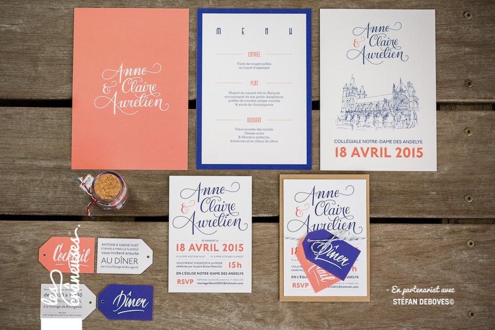 Faire-part moderne - Faire-part original - Faire-part bleu et corail - Calligraphie sur mesure - Coupons - Création personnalisée - Les crâneuses