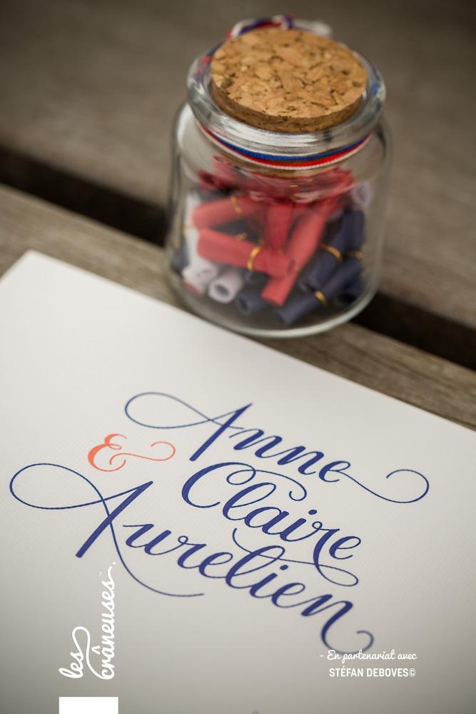 Prénoms mariés calligraphie - Bleu - Lettrage sur mesure - Papeterie unique - Les crâneuses