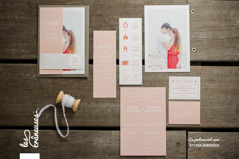 Faire-part boho - Faire part corail - Création romantique - Papeterie bohème - Marque page mariage - Création sur mesure - Les crâneuses