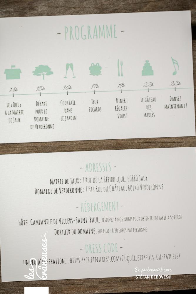 Faire part rétro - Guinguette - Champêtre - Timeline mariage - Vert d'eau - Faire part sur mesure - Papeterie personnalisée - Les crâneuses