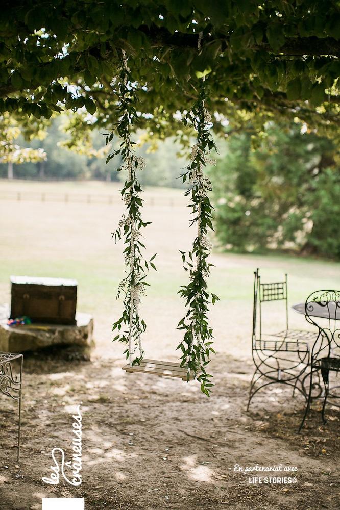 Balançoire végétale - Décoration mariage - Domaine de la Butte Ronde - Les crâneuses - mariage paris