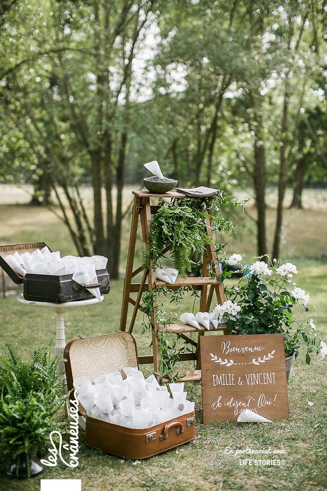 Décoration cérémonie laïque - Mariage - Domaine Butte Ronde - Paris - Cornet lavande - Les crâneuses