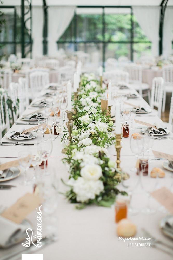 Centre de table végétal - Table d'honneur mariage - Décoration mariage bohème - Les crâneuses - Domaine de la Butte Ronde - Paris