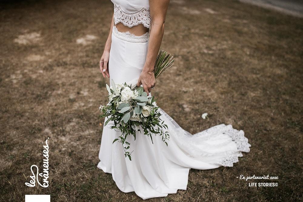 Robe de mariée - Rime Arodaky - Bouquet végétal - Madame Artisan Fleuriste - Mariage Paris - Les crâneuses - Domaine de la Butte Ronde