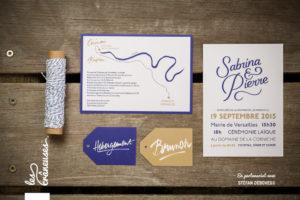 Faire-part bleu et doré - Calligraphie sur mesure - Lettrage mariage - Création graphique - Faire-part moderne - Faire-part original - Coupon brunch - Coupon diner - Les crâneuses