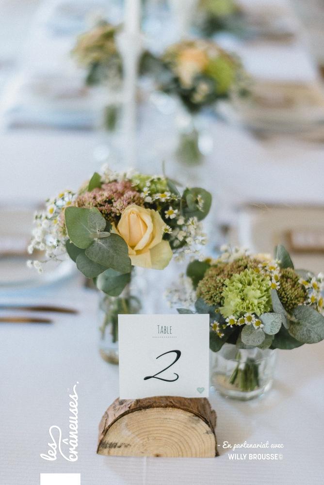 Décoration table mariage - Champêtre - Chic - Sobre - Corail - Végétal - Les crâneuses