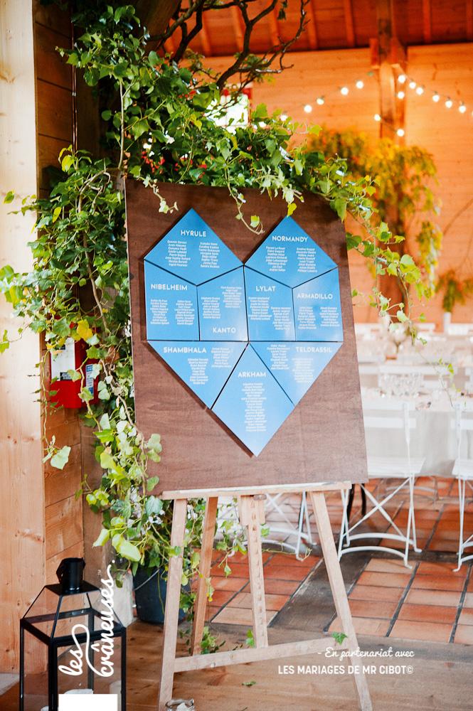 Plan de table mariage - Plan de table coeur - Plan de table 3D - Décoration - Manoire des prévanches - les crâneuses - wedding planner