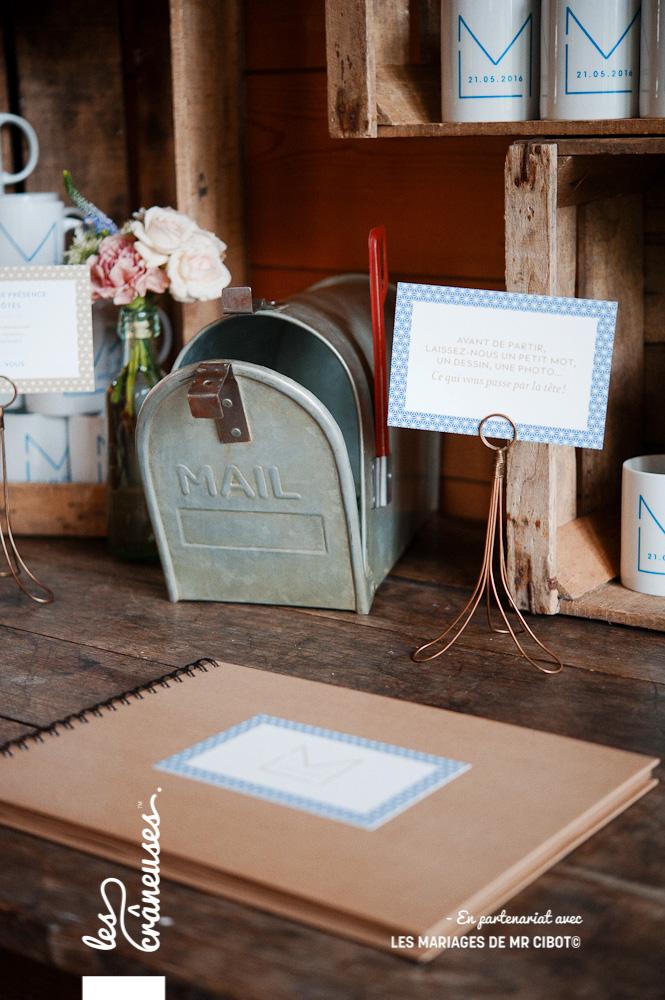Livre d'or mariage - Kraft - décoration - Manoir des Prévanches - Mariage Normandie - Urne - US mailbox - Les crâneuses