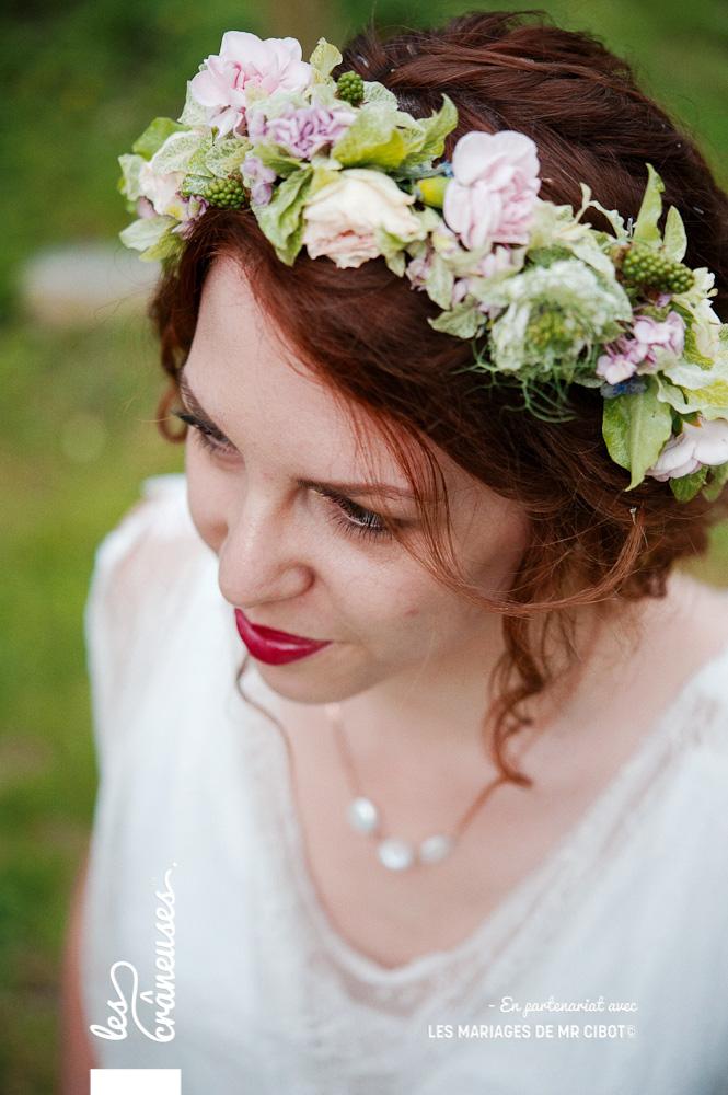 Couronne mariée - fleurs pastel - Mariage Manoir des Prévanches - Les crâneuses