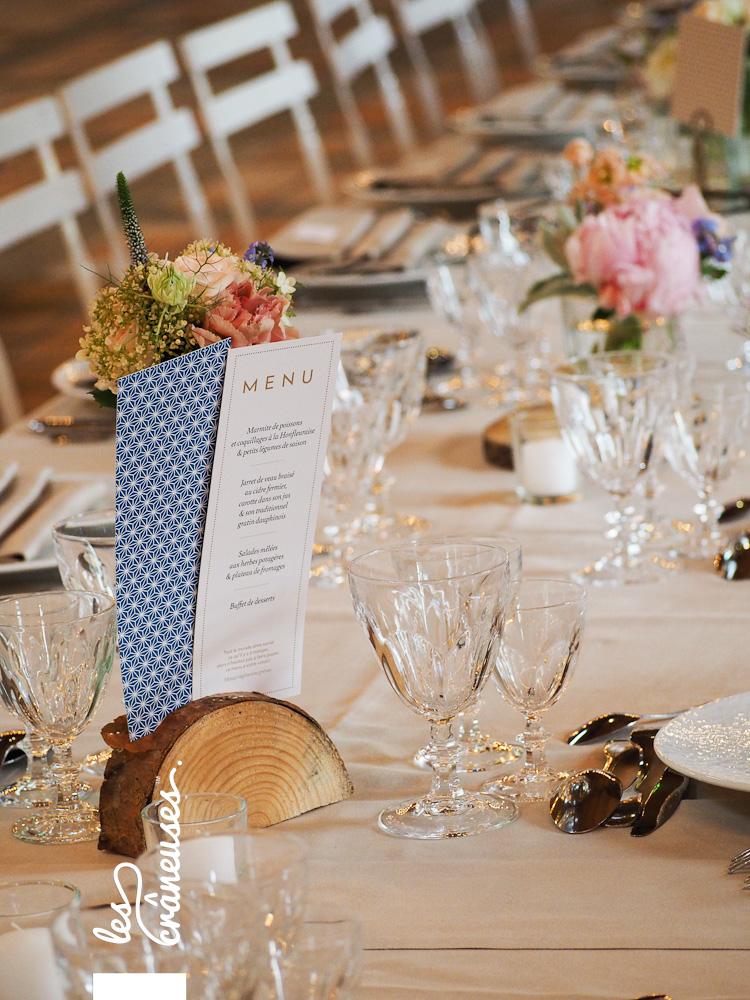 Décoration table - Mariage - Manoir des Prévanches - Rondin bois - Menu - Bleu - Doré - Les crâneuses - wedding planner