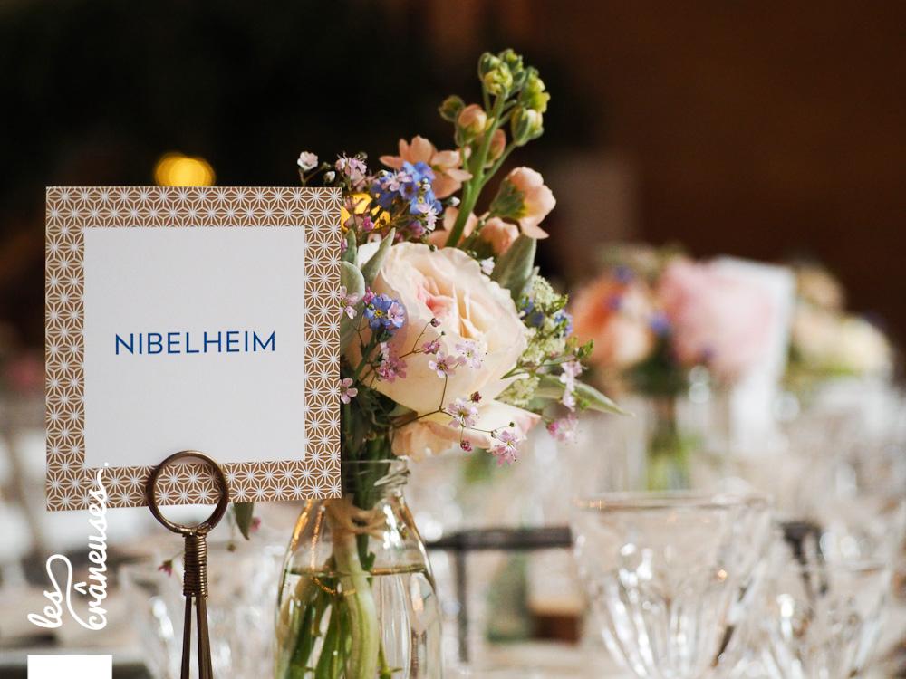 Décoration table - Mariage - Manoir des Prévanches - Bleu - Doré - Les crâneuses - wedding planner