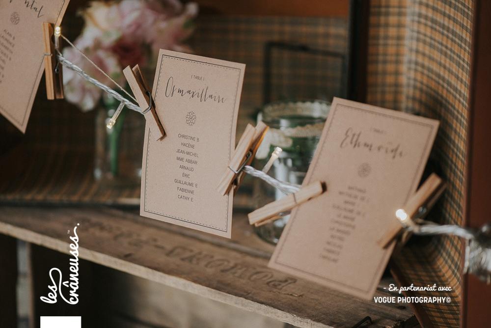 Plan de table mariage - Kraft - Les crâneuses - décoration