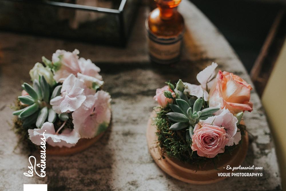 Mariage Amiens - Décoration mariage pastel - fleurs roses - Les crâneuses