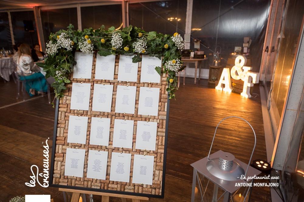 Plan de table - Bouchons en liège - Décoration mariage - Les crâneuses - Angers