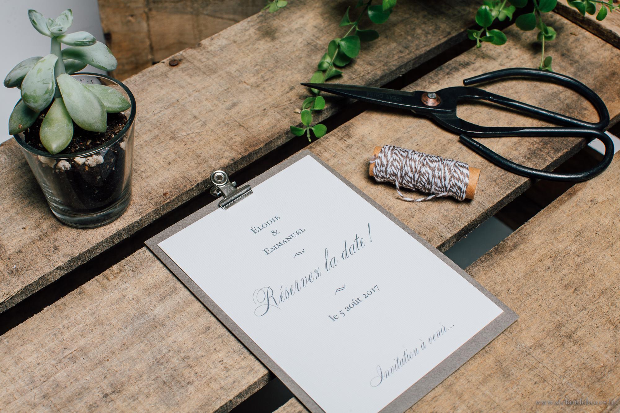 Faire part mariage minimaliste, épuré, sobre, élégant, chic, traditionnel. Papeterie de mariage. Les crâneuses. Faire part sur mesure.