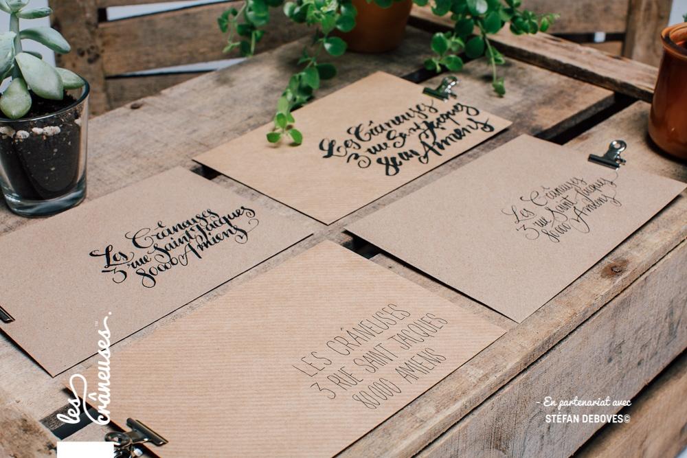 Enveloppe mariage - Faire part mariage - Ecriture manuscrite - Personnalisation enveloppe faire part - Les crâneuses - Création faire part sur mesure