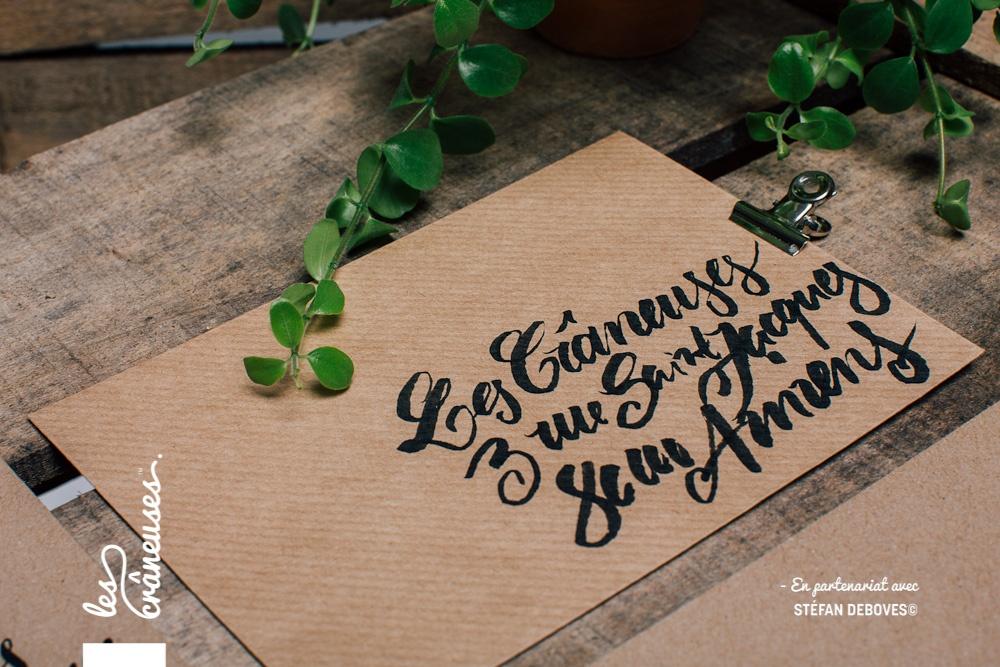 Les crâneuses - Wedding planner - Paris - Lille - Amiens - Enveloppe kraft personnalisée - Ecriture adresse