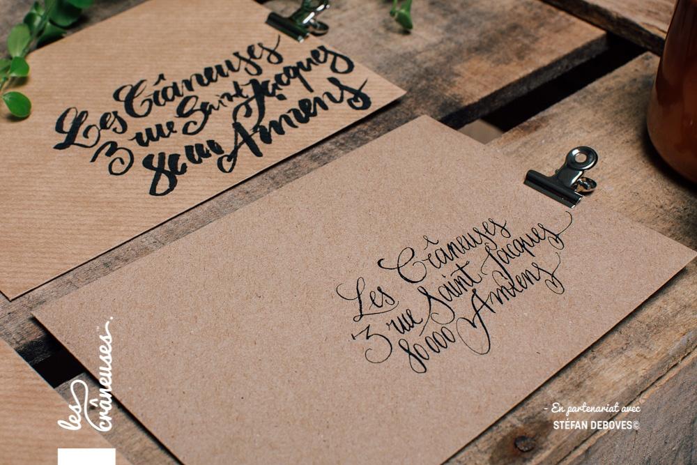 Les crâneuses - Wedding planner - Paris - Lille - Amiens - Enveloppe kraft - Ecriture élégante - Adresse personnalisée