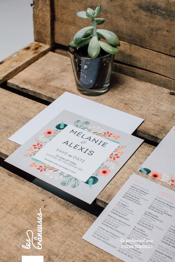 Faire part japonais - Fleurs japonaises - Invitation carrée - Faire part floral - Les crâneuses - Création de faire-parts sur-mesure