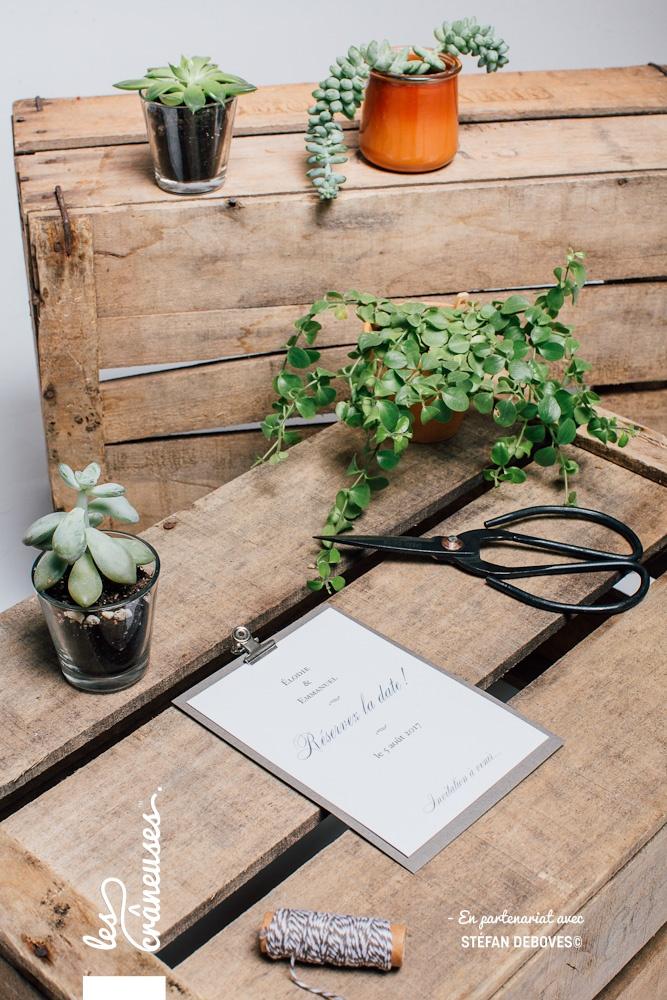 Faire part minimaliste - Sobre - traditionnel - Papeterie chic - faire part mineral - Les crâneuses - Création faire part - Sur mesure