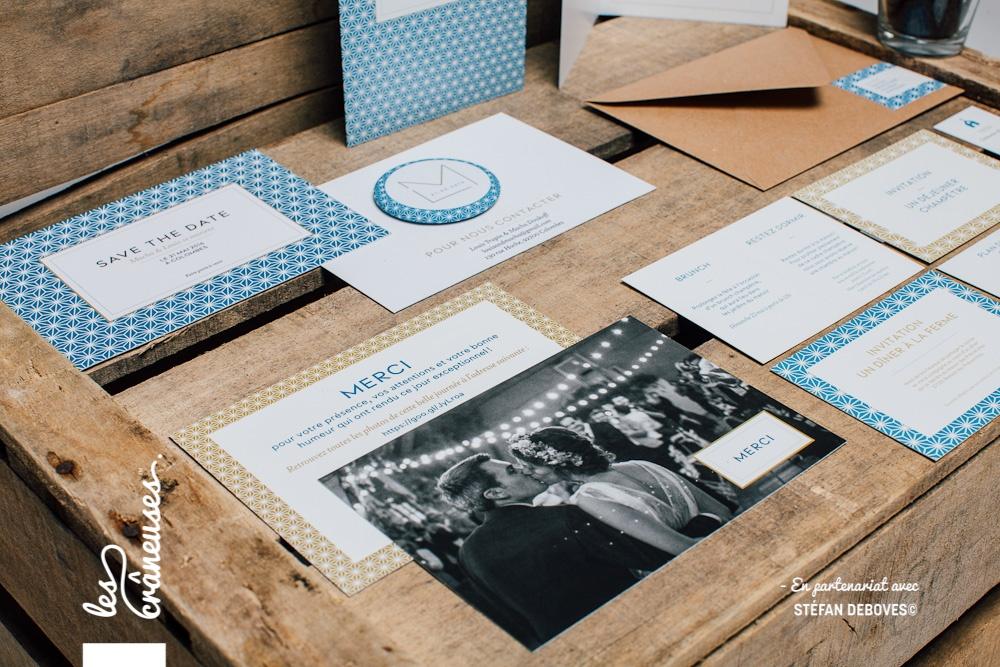 Papeterie mariage - Bleu - Or - Magnet mariage - Enveloppe kraft - Faire part moderne - Les crâneuses - Création sur mesure