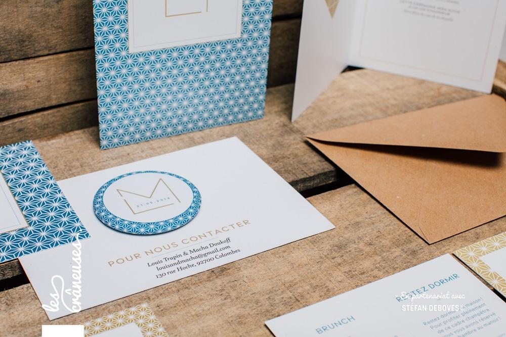Magnet mariage - Papeterie mariage - Bleu - Faire part moderne - Enveloppe kraft - Les crâneuses - Création sur mesure