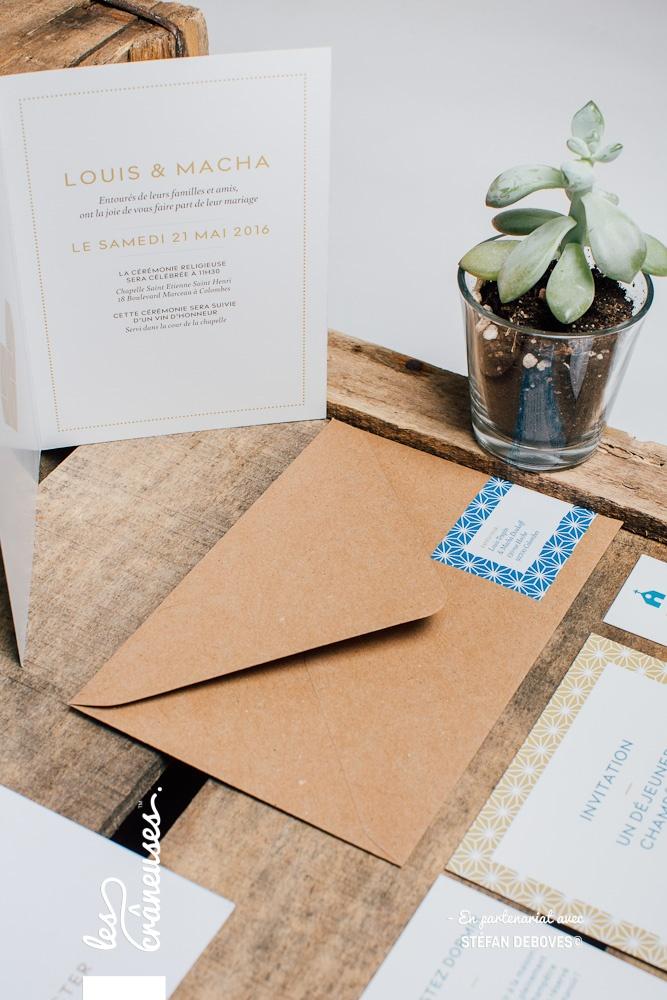 Papeterie mariage - Bleu - Faire part moderne - Enveloppe kraft - Les crâneuses - Création sur mesure