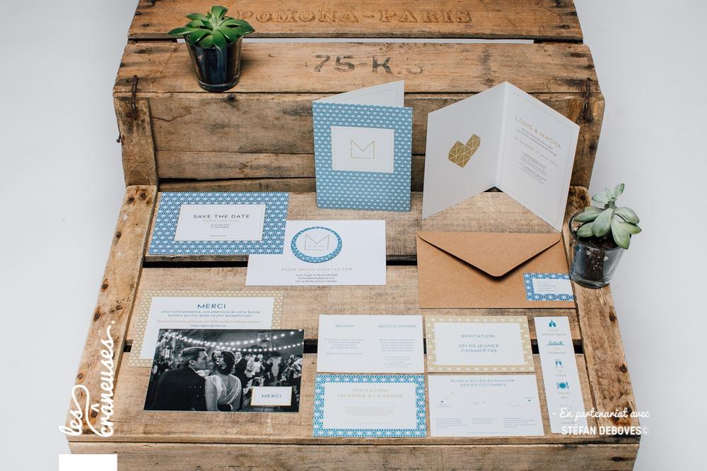 Papeterie mariage - Bleu - Doré - Or - Origami - Magnet mariage - Marque page mariage - Faire part moderne - Les crâneuses - Création sur mesure