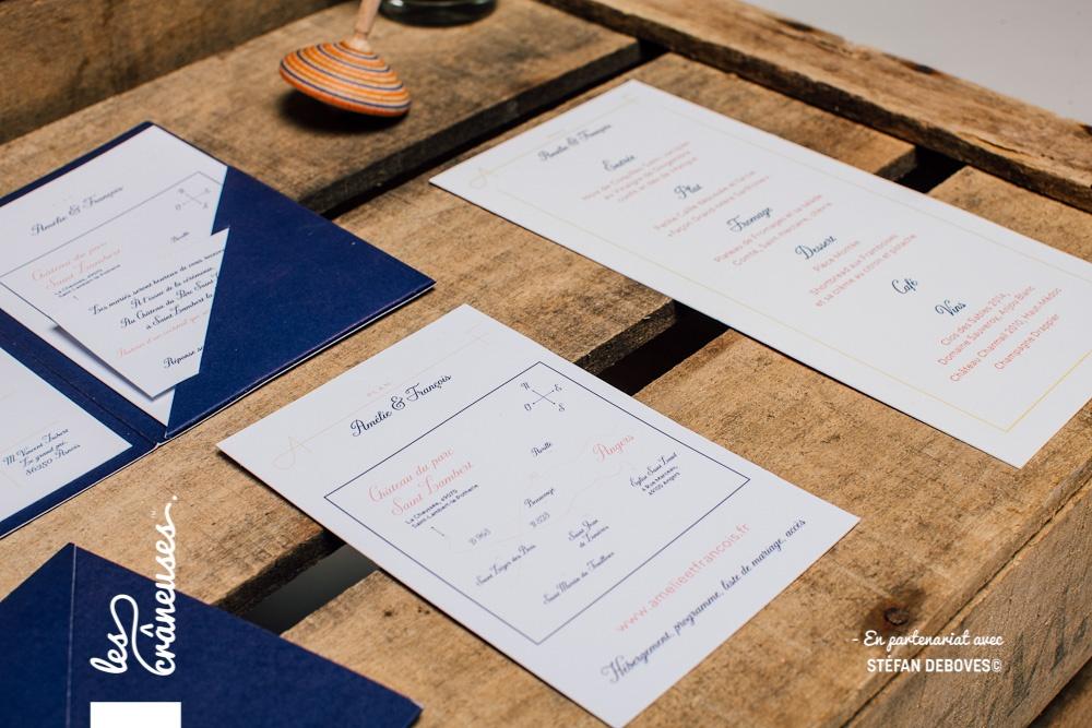 Faire part mariage Bleu Marine - Jaune - Orange - Faire part avec coupons - Faire part à compartiments - Création sur mesure - Fait main - Plan faire part mariage - Les crâneuses