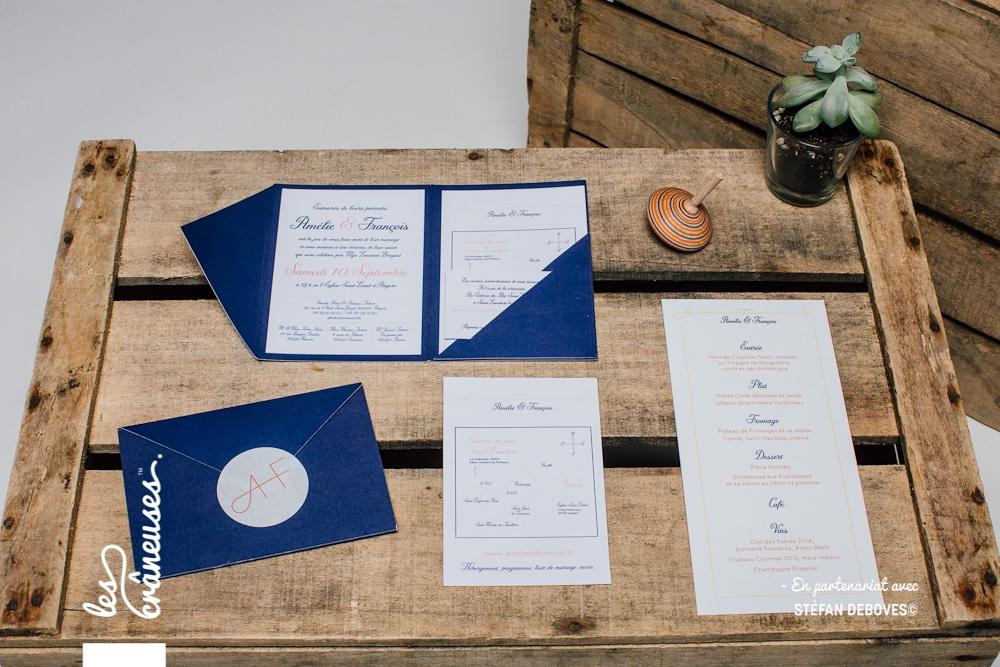 Faire part mariage bleu - Bleu Marine - Faire part avec coupons - Faire part à compartiments - Création sur mesure - Fait main - Les crâneuses