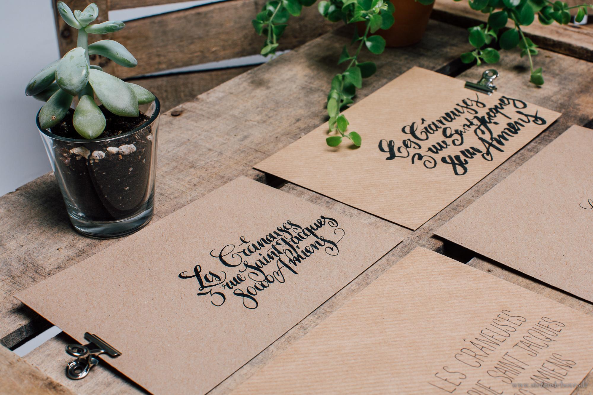Faire part mariage, Calligraphie, Les crâneuses, Enveloppe, Papeterie mariage, Enveloppe kraft