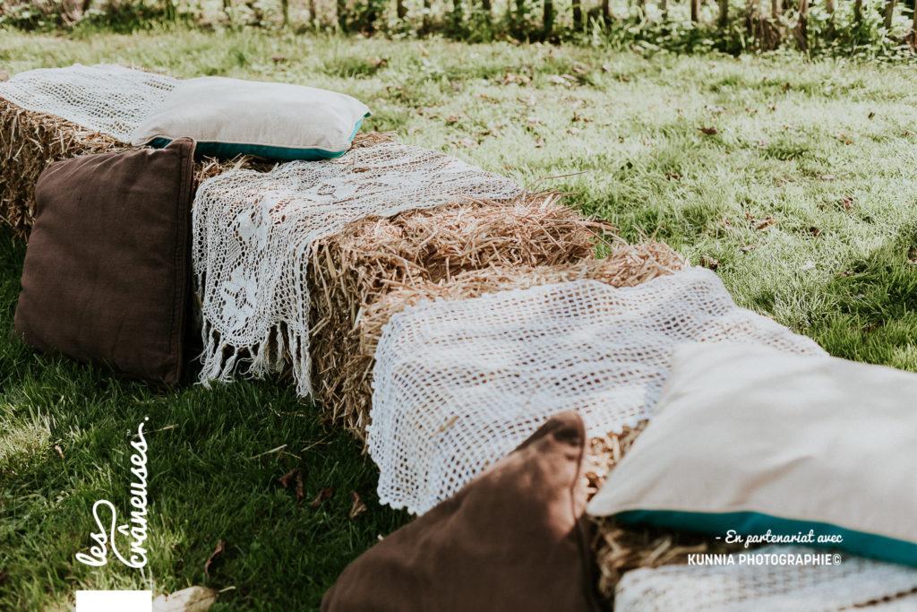 Mariage - Champêtre - Botte de paille - Décoration mariage - Les crâneuses
