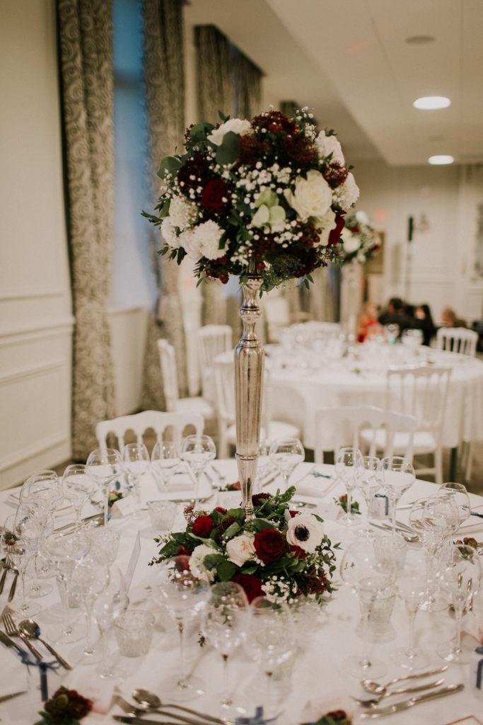 Chateau Couturelle - mariage - décoration table - Hiver - Les crâneuses - Chandelier