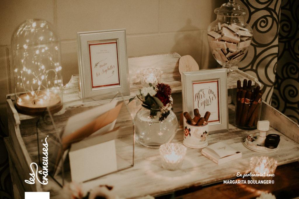 décoration mariage - hiver - livre d'or - rouge - blanc - argent - Les crâneuses