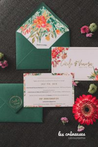 Faire part mariage - Vert - Fleurs - Tropical - Les crâneuses - Les Bandits