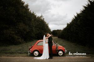 Fiat 500 mariage - Amiens - Les crâneuses - Couple - Voiture mariés