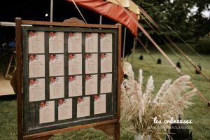 Plan de table mariage - Bohème - Décoration - Herbe pampa -