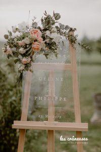 Panneau bienvenue mariage - Signalétique plexiglas - Décoration - Fleurs pastel - Blush