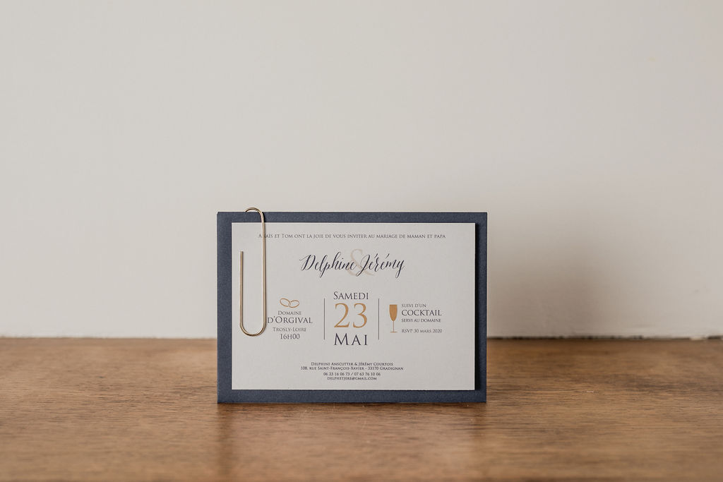 Faire part sur mesure - Création unique - Les crâneuses - Papeterie personnalisée - Mariage - Bleu - Doré