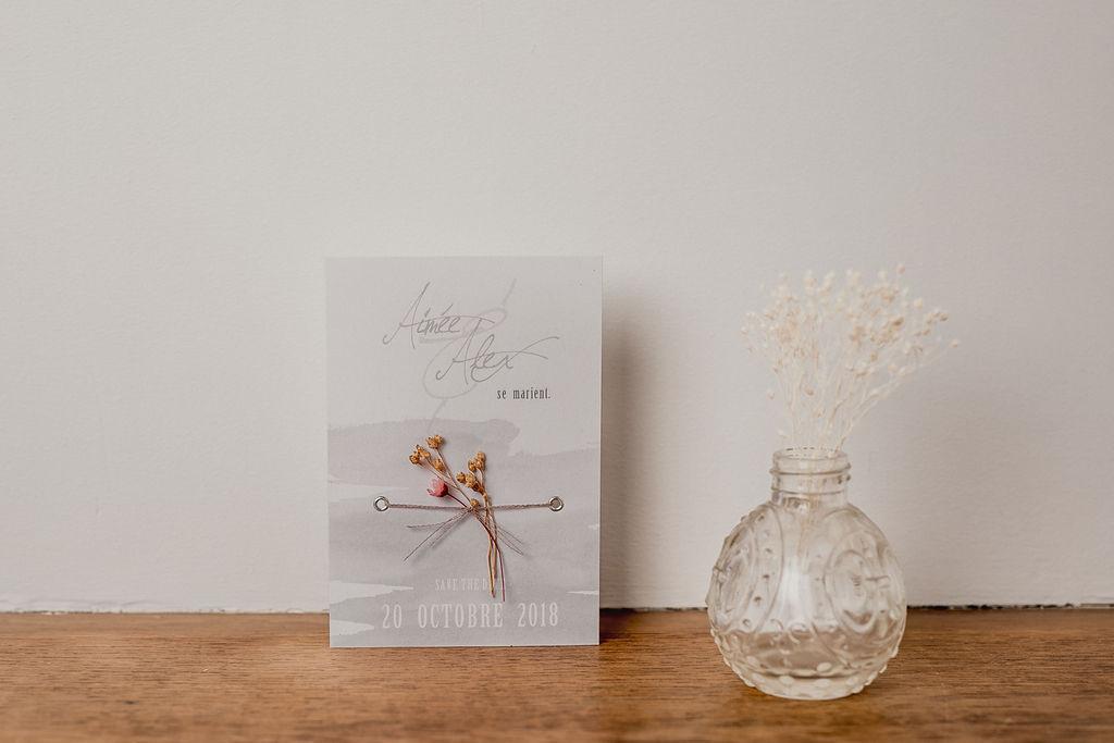 Faire part sur mesure - Création unique - Les crâneuses - Papeterie personnalisée - Mariage - Gris - Aquarelle - Fleurs séchées